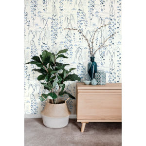 Ronald Redding Tea Garden White and Blue Willow Branches Wallpaper