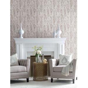 Ronald Redding Tea Garden Gray and Purple Willow Branches Wallpaper
