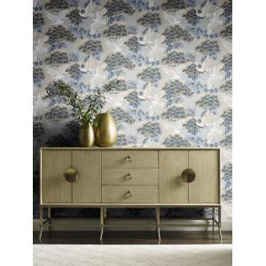 Ronald Redding Tea Garden Light Blue Sprig and Heron Wallpaper