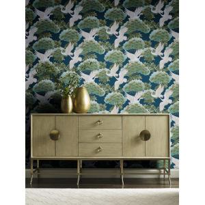 Ronald Redding Tea Garden Blue Sprig and Heron Wallpaper