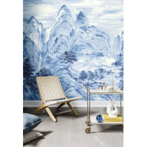 Mural Resource Library Blue Misty Mountain Wallpaper