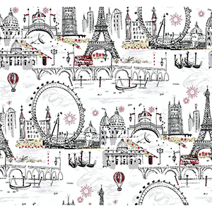 A Perfect World White, Black and Red Novelty Euro Scenic Wallpaper