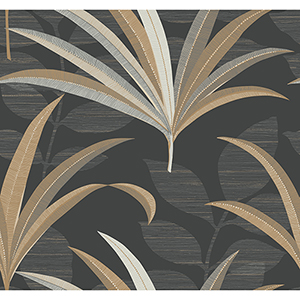 Antonina Vella Deco Black El Morocco Palm Wallpaper