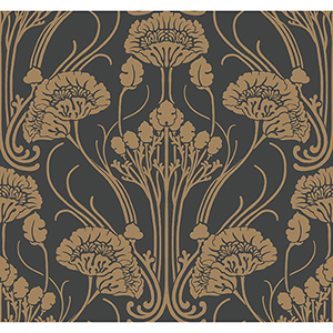 Antonina Vella Deco Black Nouveau Damask Wallpaper