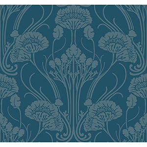 Antonina Vella Deco Blue Nouveau Damask Wallpaper