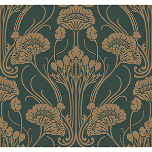Antonina Vella Deco Green Nouveau Damask Wallpaper