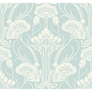 Antonina Vella Deco Blue Nouveau Damask Wallpaper