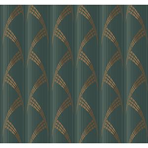 Antonina Vella Deco Green Metropolis Wallpaper