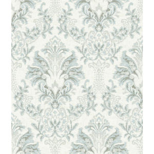 Impressionist Blue and Gray Bold Brocade Wallpaper
