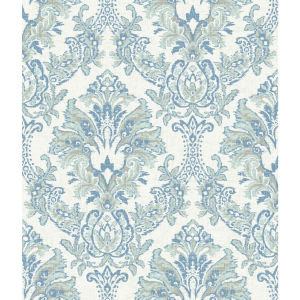 Impressionist Blue Bold Brocade Wallpaper