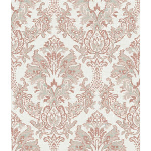 Impressionist Tan and Gray Bold Brocade Wallpaper