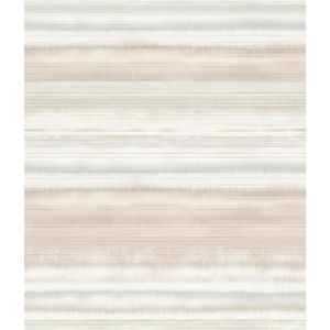 Impressionist Pink and Beige Fleeting Horizon Stripe Wallpaper