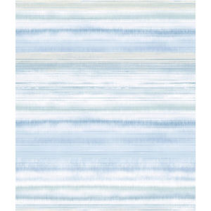 Impressionist Light Blue Fleeting Horizon Stripe Wallpaper