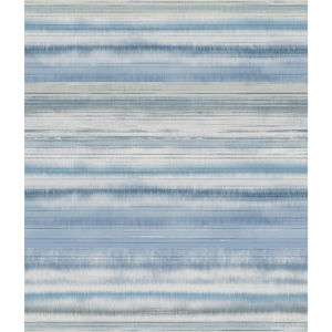 Impressionist Blue Fleeting Horizon Stripe Wallpaper