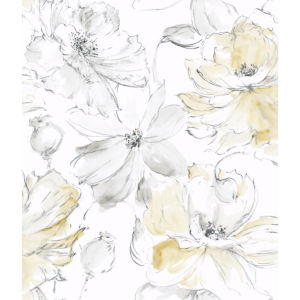 Impressionist Yellow Floral Dreams Wallpaper