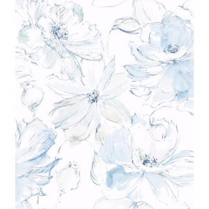 Impressionist Blue Floral Dreams Wallpaper