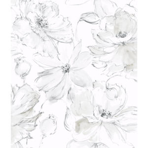 Impressionist Gray Floral Dreams Wallpaper