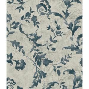 Impressionist Blue and Gray Vine Silhouette Wallpaper