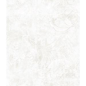 Impressionist White Entablature Scroll Wallpaper