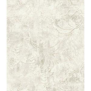 Impressionist Cream Entablature Scroll Wallpaper