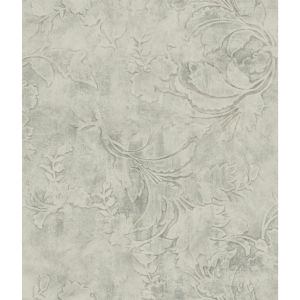 Impressionist Gray Entablature Scroll Wallpaper