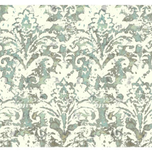 Impressionist Blue and Gray Batik Damask Wallpaper
