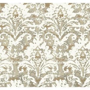 Impressionist Taupe Batik Damask Wallpaper