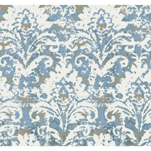 Impressionist Blue Batik Damask Wallpaper