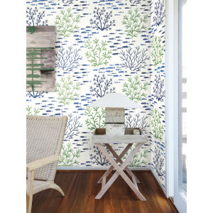 Waters Edge Green Blue Marine Garden Pre Pasted Wallpaper