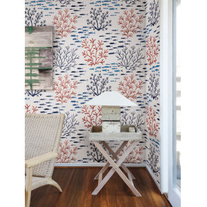 Waters Edge Coral Navy Marine Garden Pre Pasted Wallpaper