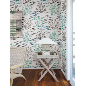 Waters Edge Blue Brown Marine Garden Pre Pasted Wallpaper