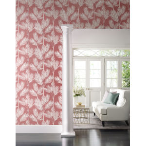 Waters Edge Coral King Palm Silhouette Pre Pasted Wallpaper