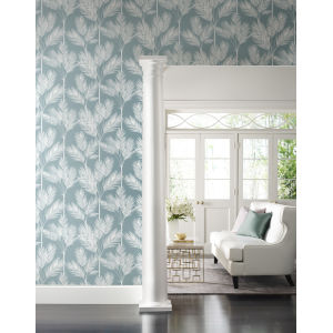 Waters Edge Blue King Palm Silhouette Pre Pasted Wallpaper