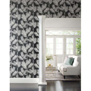 Waters Edge Blue King Palm Silhouette Botanical Pre Pasted Wallpaper