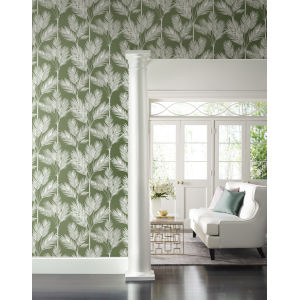 Waters Edge Green King Palm Silhouette Pre Pasted Wallpaper