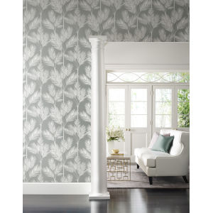 Waters Edge Gray King Palm Silhouette Pre Pasted Wallpaper