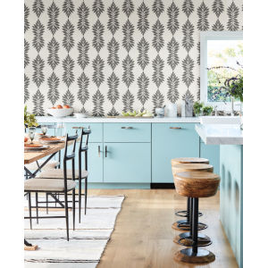 Waters Edge Gray Off White Broadsands Botanica Pre Pasted Wallpaper