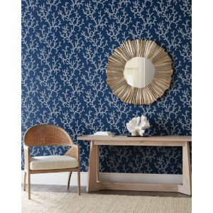 Waters Edge Navy Coral Island Non Pasted Wallpaper