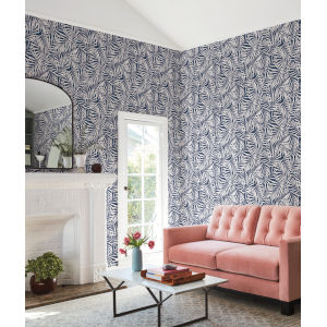 Waters Edge Navy White Oahu Fronds Pre Pasted Wallpaper