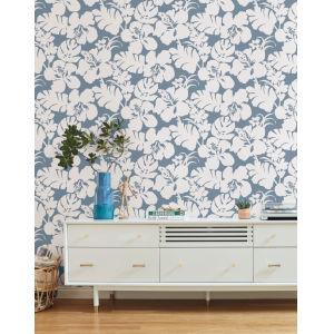Waters Edge Blue Hibiscus Arboretum Pre Pasted Wallpaper