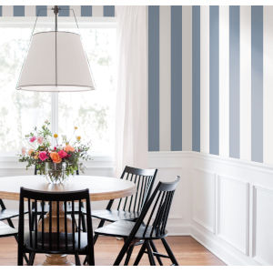 Waters Edge Blue Awning Stripe Pre Pasted Wallpaper