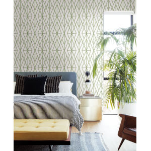 Waters Edge Green Riviera Bamboo Trellis Pre Pasted Wallpaper