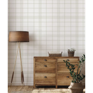 Waters Edge Off White Charter Plaid Pre Pasted Wallpaper