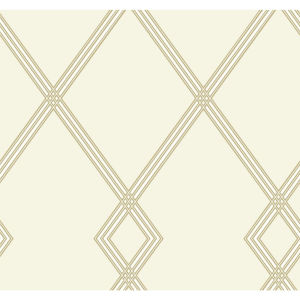 Conservatory Cream and Gold Ribbon Stripe Trellis Wallpaper