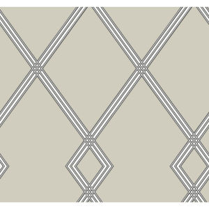 Conservatory Taupe Ribbon Stripe Trellis Wallpaper