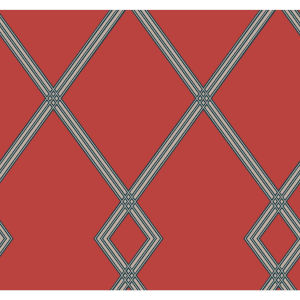 Conservatory Red and Indigo Ribbon Stripe Trellis Wallpaper