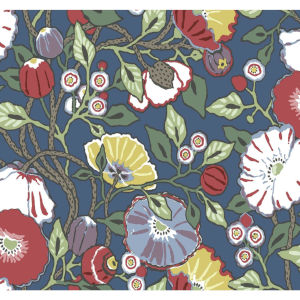 Conservatory Navy Vincent Poppies Wallpaper