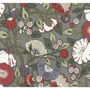 Conservatory Charcoal Vincent Poppies Wallpaper