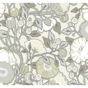 Conservatory Gray Vincent Poppies Wallpaper