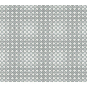 Conservatory Aqua Gray Rattan Overlay Lattice Wallpaper